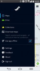 Đây là menu giao diện chính. Các bạn có thể lựa chọn sử dụng giữa 2 phần Maps và Drive. Tuy nhiên khi chúng ta đang tìm kiếm địa điểm ở phần Maps và cần dẫn đường đến địa điểm đó thì ứng dụng sẽ tự động chuyển về phần Drive.