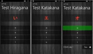 Phần kiểm tra lại kiến thức đã học qua 2 bộ bảng chữ HIRAGANA và KATAKANA trên ứng dụng JLPT N5.