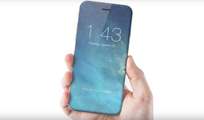 Hình ảnh mô phỏng về chiếc điện thoại iPhone 8 với màn hình không đường viền của Apple