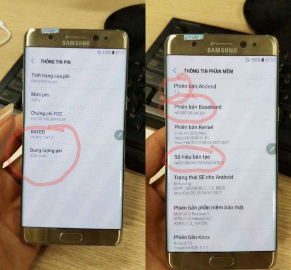 Thông tin về pin cũng như phiên bản Android của Samsung Galaxy Note 7R.