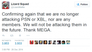 Xác nhận lần nữa là chúng tôi sẽ không tiếp tục tấn công vào PSN hay Xbox Live, bất kể thành viên nào. Chúng tôi cũng sẽ không tấn công họ trong tương lai nữa. Cám ơn MEGA.