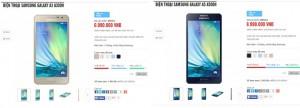 Mức giá chính hãng của Galaxy A3 và A5 niêm yết trên website bán lẻ của MaiNguyen