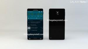 Concept của chiếc Galaxy Note 5 nhìn từ mặt trước và mặt sau.