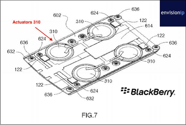 Một bằng sáng chế của BlackBerry liên quan đến công nghệ phản hồi xúc giác được cấp vào năm 2007