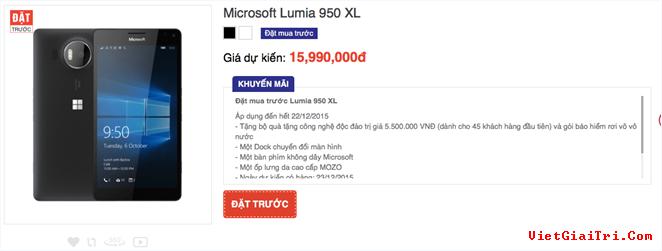 Nhà bán lẻ trong nước nhận đặt trước Lumia 950 XL với giá 15,99 triệu đồng. Ảnh chụp màn hình.