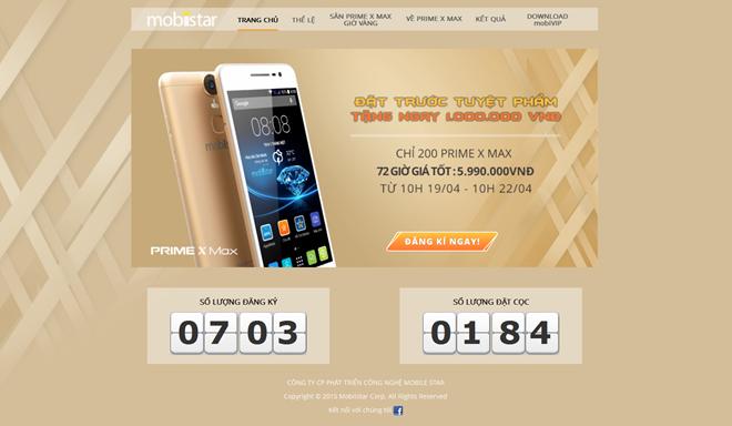 Hơn 700 khách hàng đã đặt mua Prime X Max trên website của Mobiistar trong ngày đầu triển khai khuyến mãi.