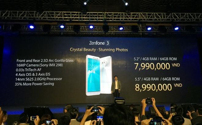Giá bán của 2 phiên bản Asus Zenfone 3 tại Việt Nam. Ảnh: Thành Duy.