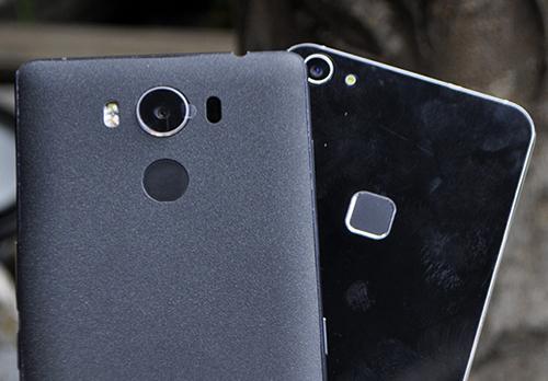 Elephhone P9000 (bên trái) và S1 (bên phải) đều hỗ trợ cảm ứng dấu vân tay.