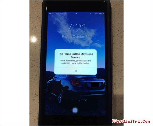 Thông báo của iPhone 7 khi nút Home gặp vấn đề.