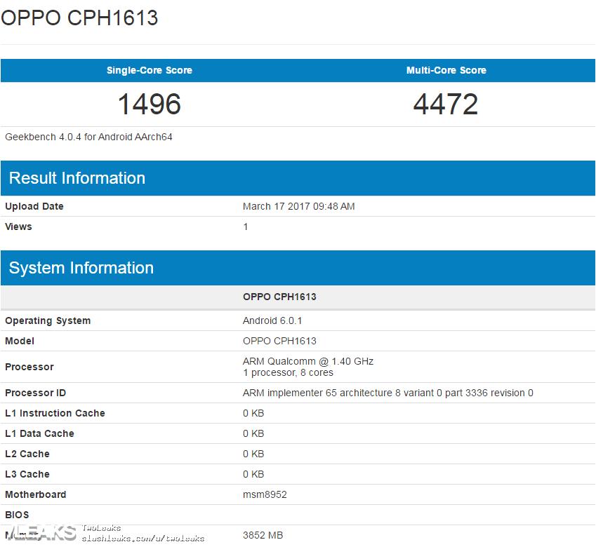 Điểm GeekBench của sản phẩm được cho là Oppo F3 Plus cùng cấu hình cơ bản bị rò rỉ trên mạng.