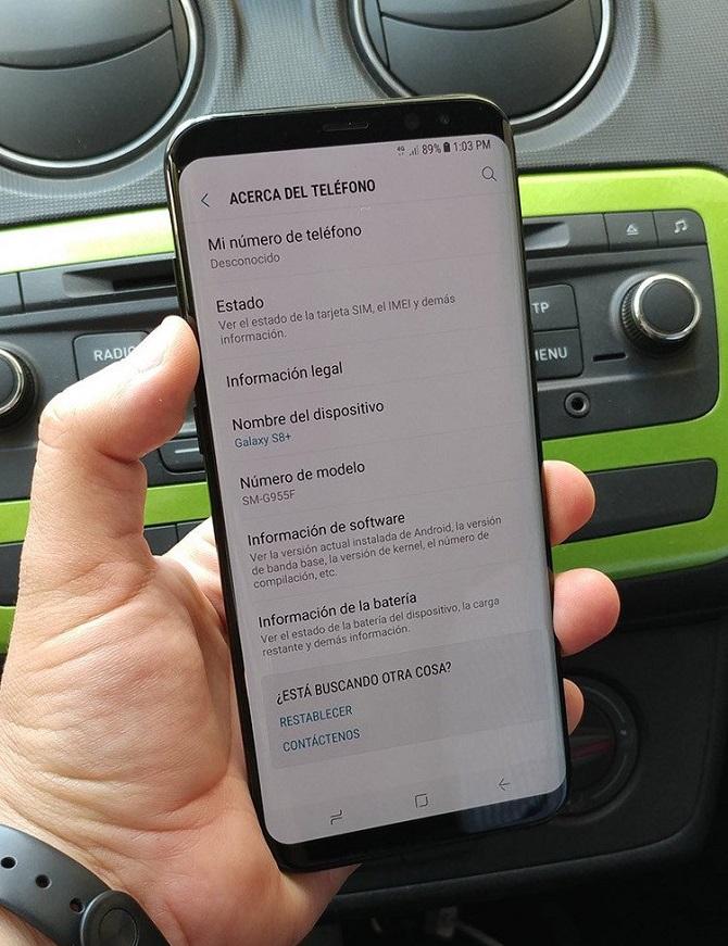 Thông tin trong phần cài đặt cho thấy đây là phiên bản Galaxy S8 Plus (tên mã SM-G95F)