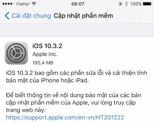 Thông báo cập nhật iOS 10.3.2 trên iPhone 6 Plus.