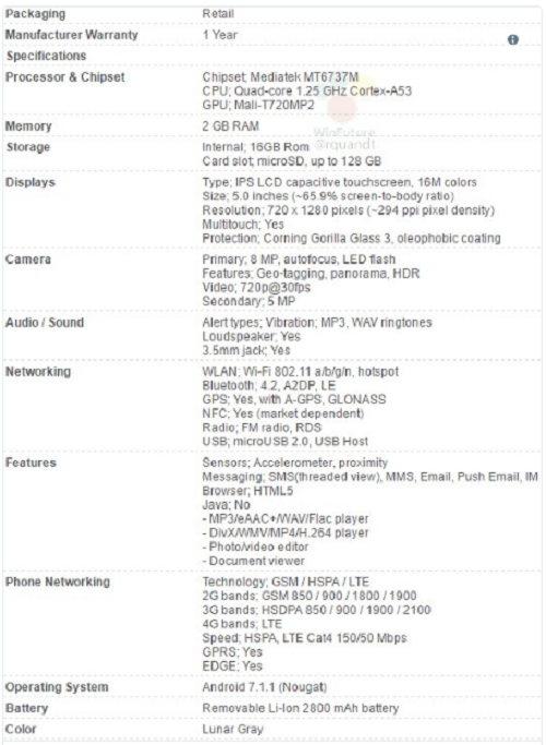 Thông số rò rỉ của Motorola Moto E4