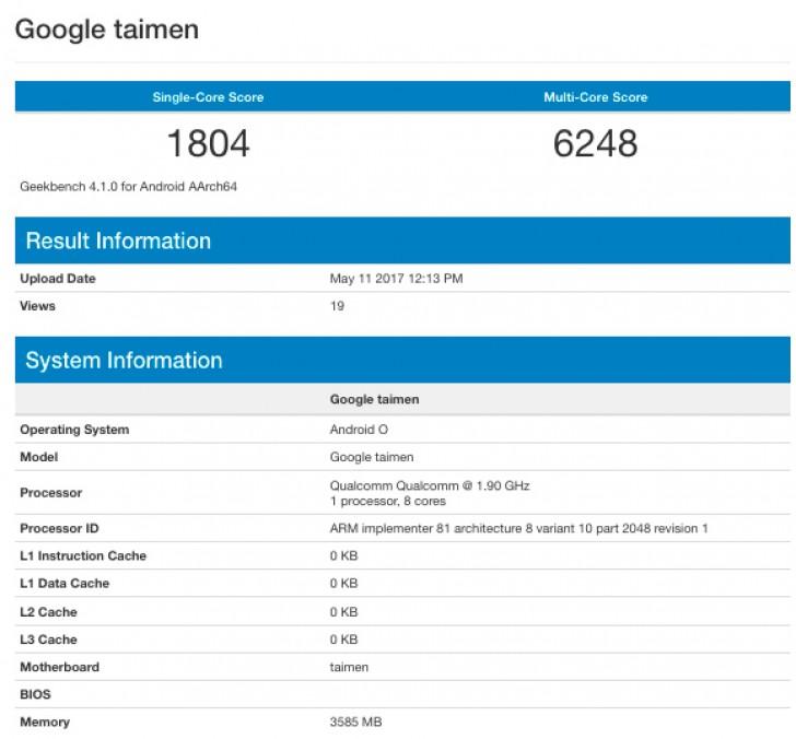 Thông  tin về Taimen có trên cơ sở dữ liệu Geekbench.