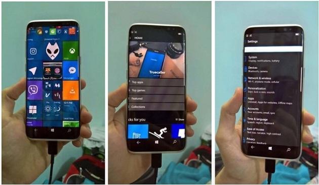 Samsung Galaxy S8 được cài sẵn Windows 10 Mobile có giao diện và tính năng tương tự bộ đôi Lumia 950/950 XL
