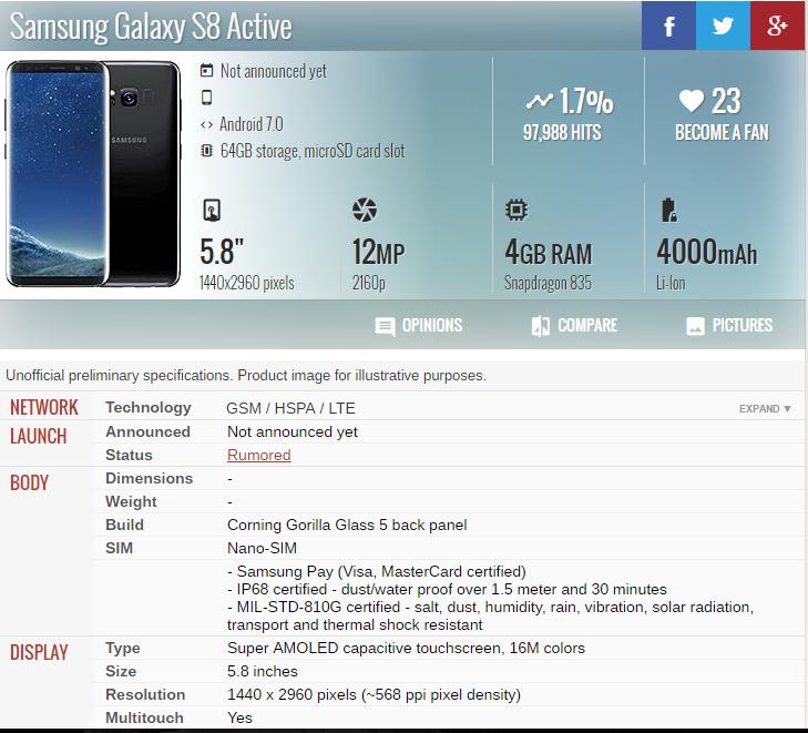 Thông số cấu hình của Galaxy S8 Active bị lộ.
