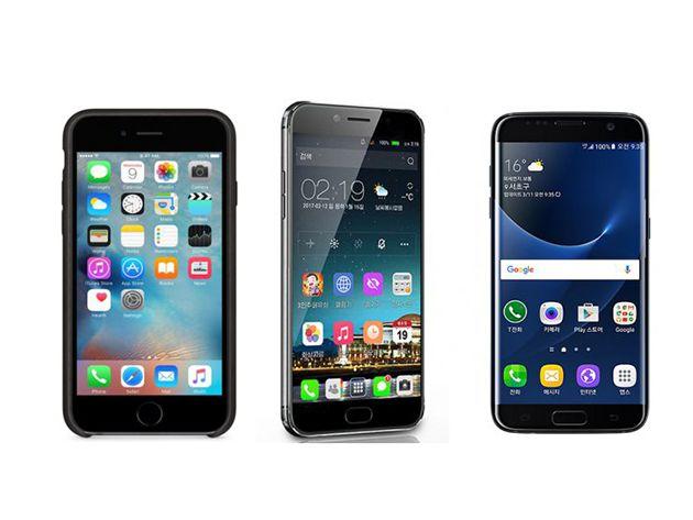Máy lấy cảm hứng thiết kế từ cả iPhone và Samsung Galaxy.