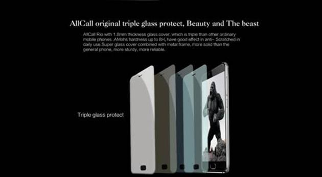 Chiếc điện thoại AllCall Rio sở hữu màn hình cong 3D.