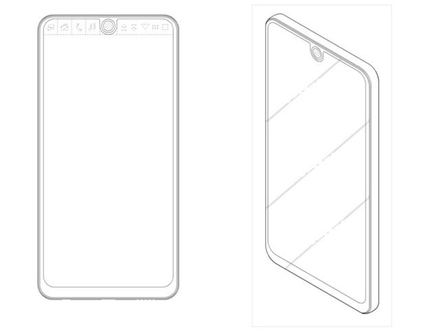 Bản vẽ trong bằng sáng chế của LG với màn hình phụ tách đôi và camera nằm ở giữa.