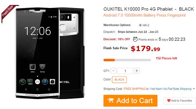 Giá bán của OUKITEL K10000 Pro trên trang GearBest.