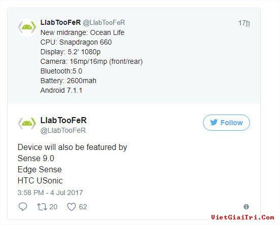 Cấu hình được cho là của HTC Ocean Life vừa bị rò rỉ trên Twitter.