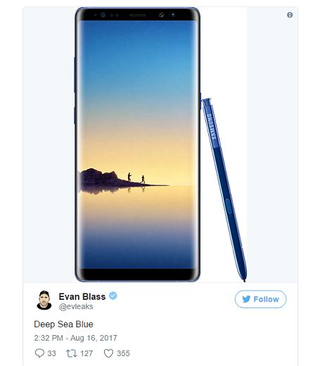 """Galaxy Note 8 sẽ có thêm màu mới có tên là """"Deep Sea Blue""""."""